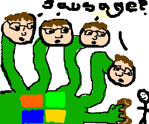 4 headed Bill Gates Hydra offers sausage to man