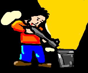 Man shoots sun in a bucket.