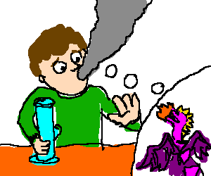 Stoned guy has visions of murderer purple dragon