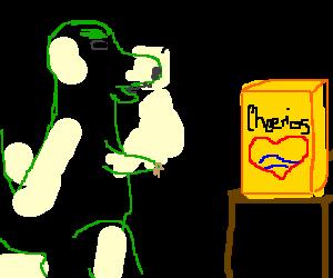 T-Rex cant open cheerio box because a short arms