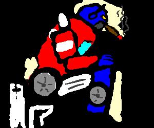 Optimus Prime shits while smoking a cig