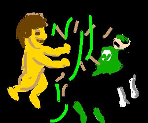 Green lantern powerless VS Jaundice yellow boy