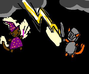 evil wizard cat shoots lightning at knight cat