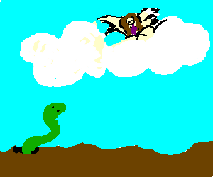Green worm staring at angel in heaven