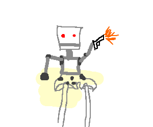 Robot with gun and silver studded underpants