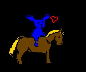 Stitch sensually riding a brown pony