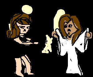Woman in lil black dress shoots @ ghost of Jesus