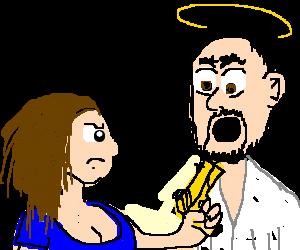 Cleavage woman uses golden gun on jesus