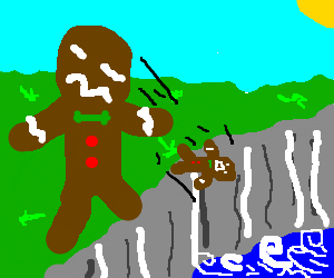 Mutant gingerbread man pushes comrade over cliff