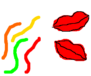 Gummy worms find lipstick marks