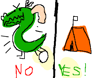 Trogdor doesn't lay eggs, tents are okay