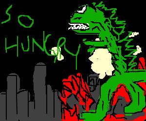 Skin and bones Godzilla wrecks havoc in big city