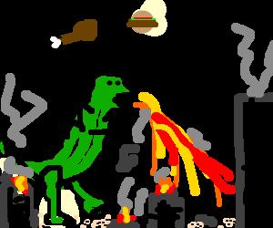 Godzilla destroys a city in search of food