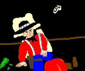 John Wayne falls off barstool, stays n character
