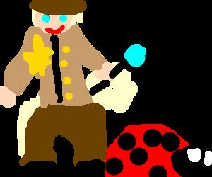 Sheriff inspects giant ladybird