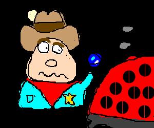 Sheriff examines giant ladybug with magnifier