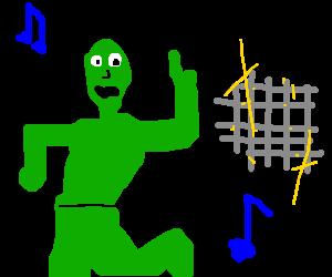 Green man dancing with a disco ball