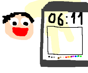 man is happy with drawception drawing at 6:11