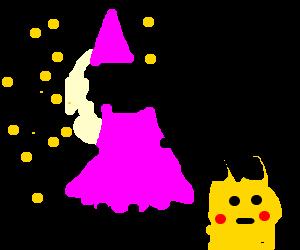 Ash crossdresses as fairy. Pikachu is confused.