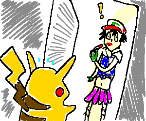 Pikachu discovers Ash is secretly a crossdresser