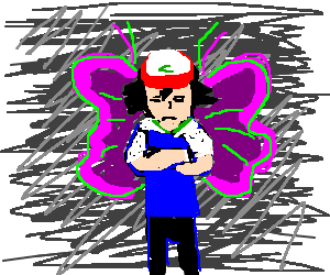 unhappy ash ketchum with fairy wings