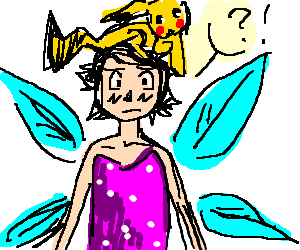 Ash Ketchum confused while wearing fairy outfit
