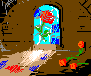 3 flowers in attic with stain glass window