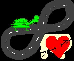 turtles race figure-8 track, heart under track