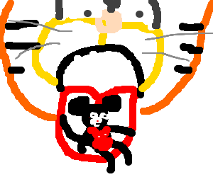 Garfield eats Micky Mouse