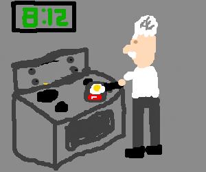 Einstein making breakfast at 8:12