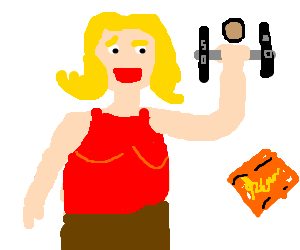 Blonde woman uses Reese's pieces to lift 50lb