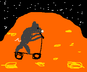 mouse scootering on orange planet