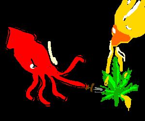 Squid stabs mustard pot