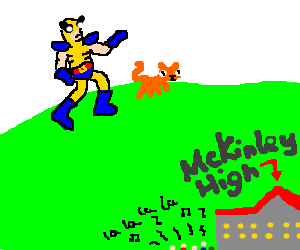 wolverine and cat runs over hills in glee