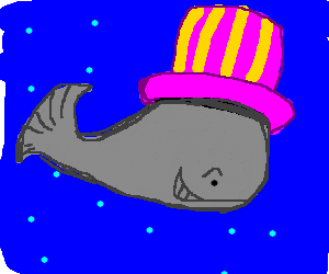 A Whale's pink and yellow party hat is fabulous