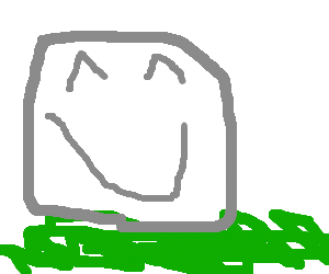 A boulder sits patiently in the grass