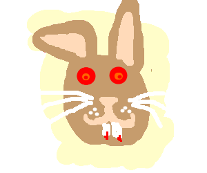 EVIL BUNNY WITH BIG TEETH AND RED EYES