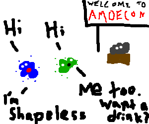 Green and blue amoeba meet at Amoecon