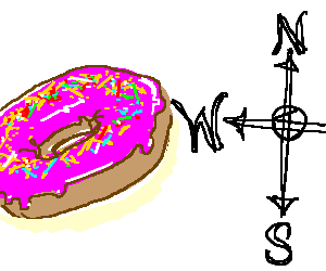 sprinkle topped donut in a westerly directio