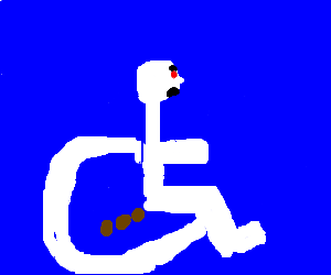 Handicapped guy's weakness is pooping.