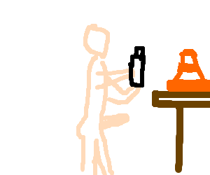 Naked man prepares to have sex with traffic cone