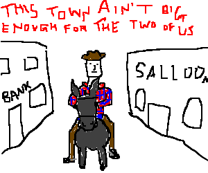 John Wayne rides a donkey into town