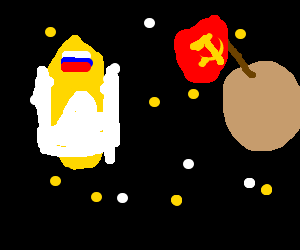 Russian shuttle floating in communist space