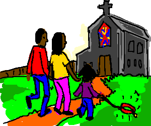 Black Family Going To Church With Imaginary Dog