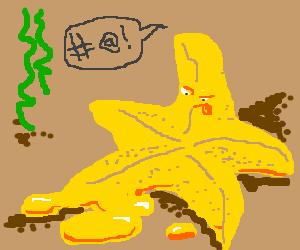 starfish is pretty upset that he's melting.