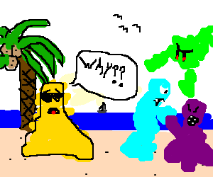 Yellow's vacation interupts by colorfull fight