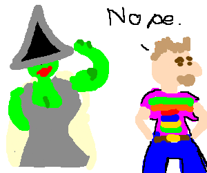Sexy witch tempts man in gay pride shirt