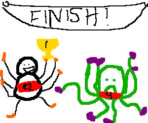 Baby octopus loses marathon to spider