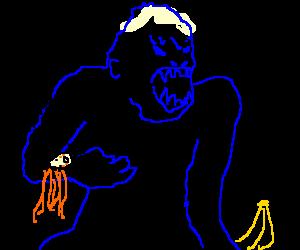 Ginger girl grabbed by blue King Kong