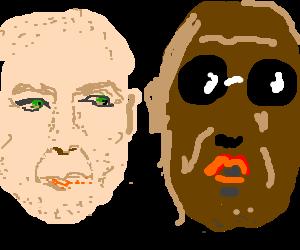 White guys switches hairdo with black guy.